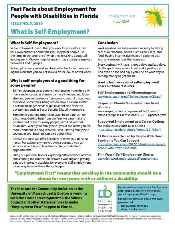 Fast Fact Issue 5 Self-Employment